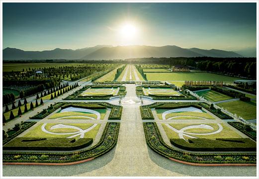 Giardini della Reggia di Venaria al tramonto d'estate